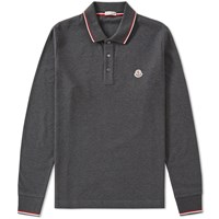 Moncler Long Sleeve Tipped Polo Grey