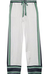 Kate Moss For Equipment Lake Striped Silk Satin Pajama Pants White