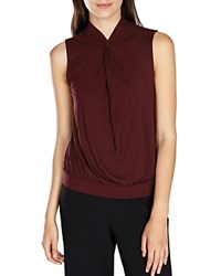 Karen Millen Knot Detail Sleeveless Top Aubergine