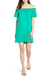 Bobeau Off The Shoulder Knit Dress Kelly Green