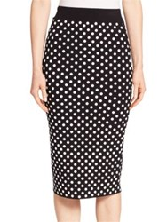 Michael Kors Embroidered Polka Dot Pencil Skirt Black