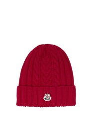 Moncler Cable Knit Wool Beanie Hat Red