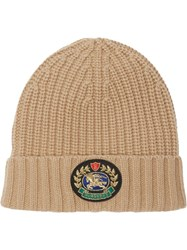 Burberry Embroidered Crest Rib Knit Wool Cashmere Beanie Neutrals