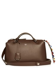 Fendi By The Way Embellished Leather Cross Body Bag Brown