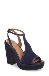 Linea Paolo Women's India T Strap Platform Sandal Midnight Suede