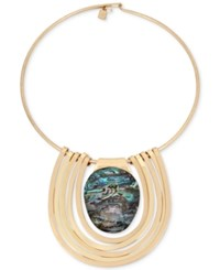 Robert Lee Morris Soho Gold Tone Abalone Stone Statement Necklace