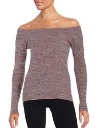 Design Lab Lord And Taylor Knit Off The Shoulder Top Multi Colored