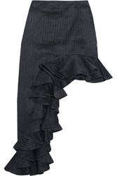 Beaufille Ara Asymmetric Pinstriped Linen Blend Skirt Navy
