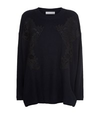 Sandro Ivy Lace Flower Jumper Female Blue