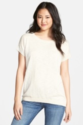 Caslon Slub Cotton Blend Short Sleeve Sweater White