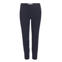 Victoria Beckham Straight Leg Cropped Cotton Trousers Navy