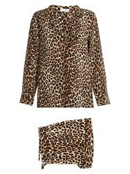 Equipment Lillian Leopard Print Silk Pyjama Set