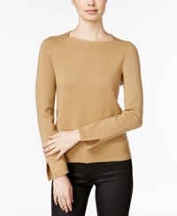 Armani Exchange Square Neck Split Sleeve Sweater Solid Light