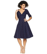 Unique Vintage Delores Swing Dress Navy Windmill Print