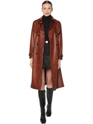 Prada Double Breasted Leather Trench Coat Brown