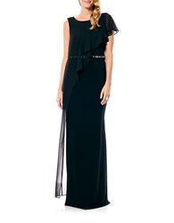 Laundry By Shelli Segal Chiffon Overlay Jeweled Waist Gown Black