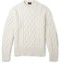 Tom Ford Cable Knit Merino Wool And Cashmere Blend Sweater White