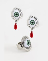 Cheap Monday Eyeball Earring And Ring Set Silver