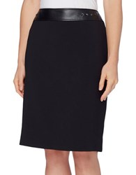 Tahari By Arthur S. Levine Petite Faux Leather Trimmed Skirt Black