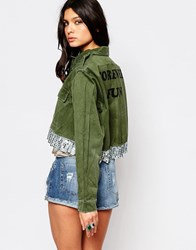 Milk It Vintage Cropped Military Jacket With Sequin Peplum Hem Khaki