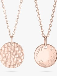 Merci Maman Personalised Small Hammered Pendant Necklace Rose Gold