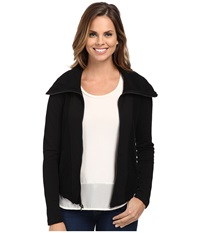 Mod O Doc Contrast Panel Zip Front Jacket Black Women's Coat