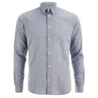 Folk Men's Grid Check Shirt Navy Blue