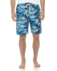 Penguin Camo Print Poplin Lounge Shorts Camo Blues