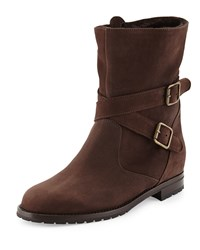 Manolo Blahnik Campocros Crisscross Belted Mid Calf Boot With Shearling Brown Women's