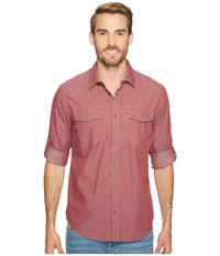 Calvin Klein Jeans Tack Print On Chambray Button Down Red Earth Men's Long Sleeve Button Up Brown
