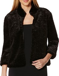 Laundry By Shelli Segal Faux Fur Open Front Jacket Black
