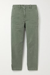 Derek Lam 10 Crosby By Cropped Cotton Twill Tapered Pants Army Green