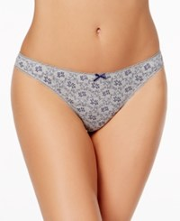 Charter Club Pretty Cotton Thong Only At Macy's Grey Scroll