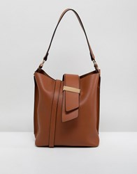 Melie Bianco Vegan Leather Shoulder Bag Tan