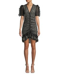Elliatt Venice Ruched Chantilly Lace Dress Black