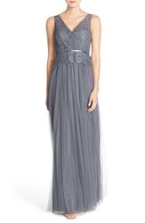 Women's Jenny Yoo 'Sutton' Double V Neck Lace And Tulle A Line Gown Hydrangea