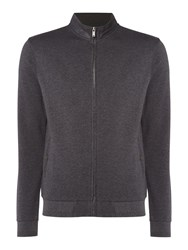Linea Men's Metz Interlock Zip Through Funnel Neck Sweat Grey