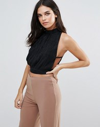 Love Pleated High Neck Top Black