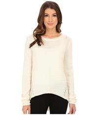 Jag Jeans Boat Neck Drop Tail Sweater Cotton Women's Sweater Bone
