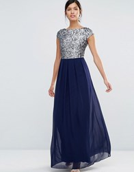 Little Mistress Maxi Dress With Lace Body Multi
