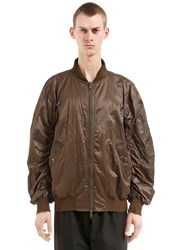 Damir Doma Oversize Zip Up Nylon Bomber Jacket Dark Green
