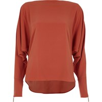 River Island Copper Brown Long Sleeve Batwing Top