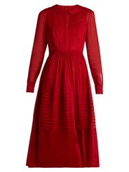 Valentino Long Sleeved Pleated Cotton Organza Dress Red
