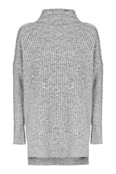 Topshop Tall Oversized Longline Knitted Jumper Grey Marl