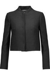 Valentino Cropped Wool And Silk Blend Blazer Black