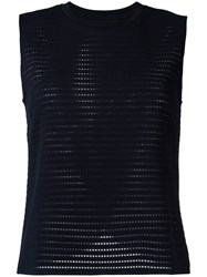 Emporio Armani Perforated Detail Top Blue
