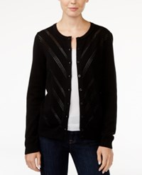 Tommy Hilfiger Marilyn Pointelle Cardigan Only At Macy's Deep Knit Black