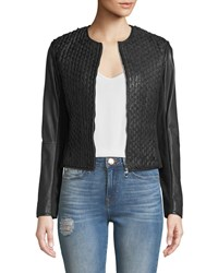 Emporio Armani Zip Front Stretch Leather Cropped Jacket Black