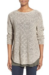 Petite Women's Eileen Fisher Ballet Neck Tunic Sweater Pebble