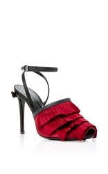 Marco De Vincenzo Fringed Satin Sandals Red